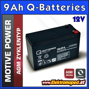 12V 9Ah Q-Batteries Akku Block