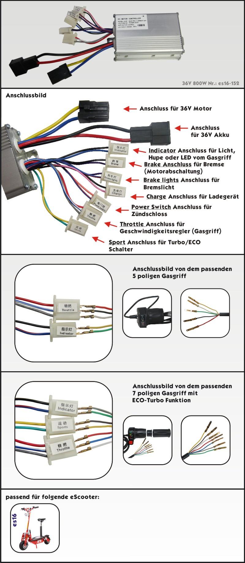 800W 36V DC Bürstenmotor Controller Steuereinheit Pedal Gasgriff Elektro Scooter